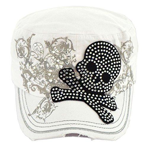 ((B43-3)-Skull With Rhinestone Cadet Cap-T21SKL12 (White))