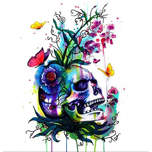 Transer Diamond Embroidery Painting, 5D Skeleton Flower Rhinestone Pasted DIY Crystal Paintings Cross Stitch Crafts (E) -