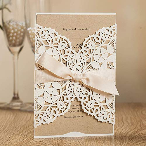 Ivory Vintage Invitations Kit - Jofanza White Laser Cut Wedding Invitations Kits with Ribbon Hollow Flowers Engagement Invites Cards for Marriage Bridal Shower Birthday Party Anniversary Quinceanera (1 Piece Sample)