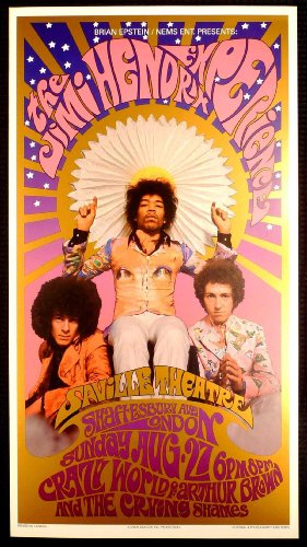 Jimi Hendrix Experience Deluxe Collectible Concert Poster Print Beautiful Color and Finish by Bob Masse & Karl Ferris