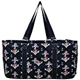 NGIL All Purpose Open Top 23' Classic Extra Large Utility Tote Bag Spring 2018 Collection (Rose Anchor Navy)