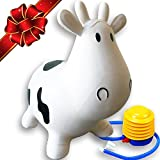 ToysOpoly FLASH SALE | Inflatable Cow Bouncer Seat - Best for Physical Therapy, Increases Balance and Agility, Eco-Friendly + Free Foot Pump, Easy to Inflate - White