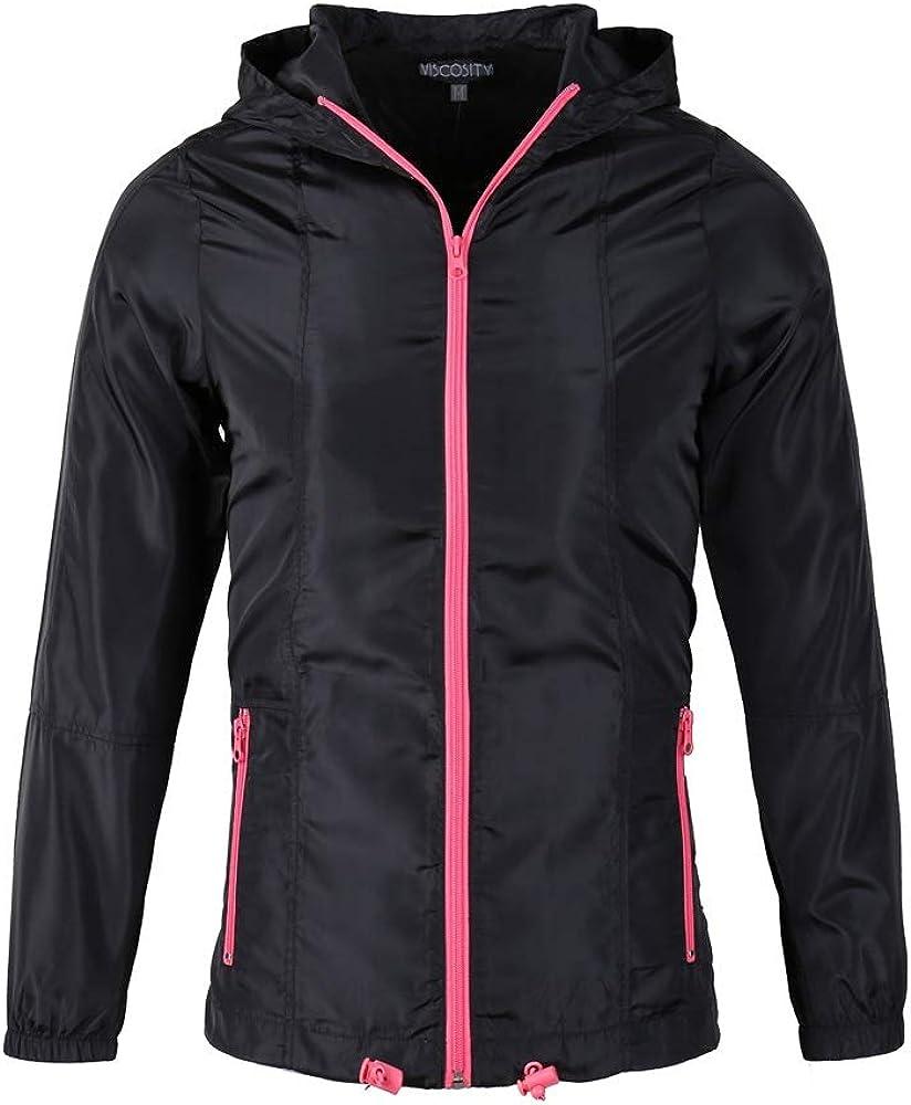 Women's Packable Jacket Running Travel Water Resistant Windbreaker(Gray&Regular Fit)