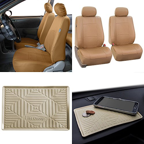 FH GROUP FH-PU002102 Classic PU Leather Bucket Seat Covers, Airbag compatible w. FREE FH3011 Silicone Anti-slip Dash Mat, Solid Beige color- Fit Most Car, Truck, Suv, or Van - Seat Classic Covers