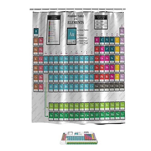 - Anzona Periodic Table Bathroom Set, Fabric Bathroom Shower Curtain with Rug Mat Shoes Rub, Kids Children Educational Science Chemistry for School Students Teachers Art, 48x72in Curtain,18x30in mat