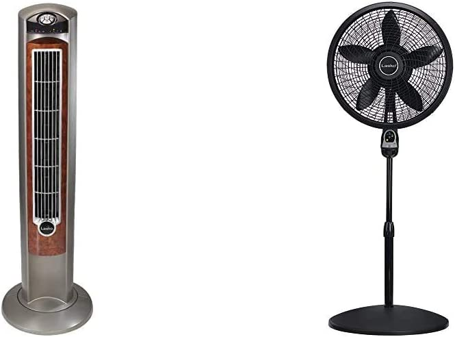 "Lasko Portable Electric 42"" Oscillating Tower Fan, Silverwood T42954 & 1843 18″ Remote Control Cyclone Pedestal Fan with Built-in Timer, Black Features Oscillating Movement and Adjustable Height"