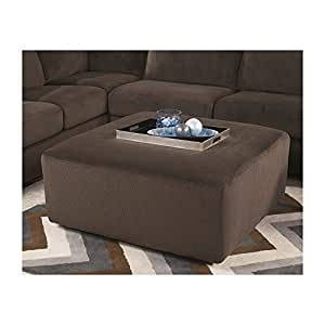 Signature Design by Ashley Jessa Place Oversized Ottoman, Chocolate Fabric