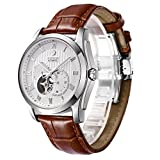 Binlun Men's High-End Ruby Mechanic Movement Watches Brown Leather Band Watch for Men