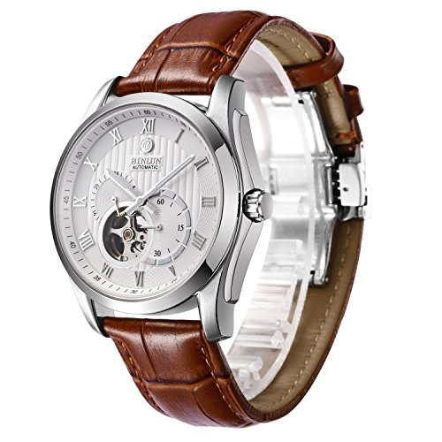 Strap Automatic Watch - BINLUN Men's 21 Jewel Mechanic Movement Watch Brown Leather Straps Automatic Watches for Mens