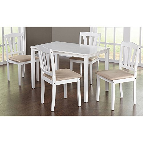 """MPN 5-Piece Dining Set, Multiple Colors, White, Classic yet modern design, Material Rubberwood Micro fiber Fabric, Table dimensions 28""""L x 45""""W x 29""""H, Chair dimensions 16.5""""L x 17.32""""W x 35.5""""H."""