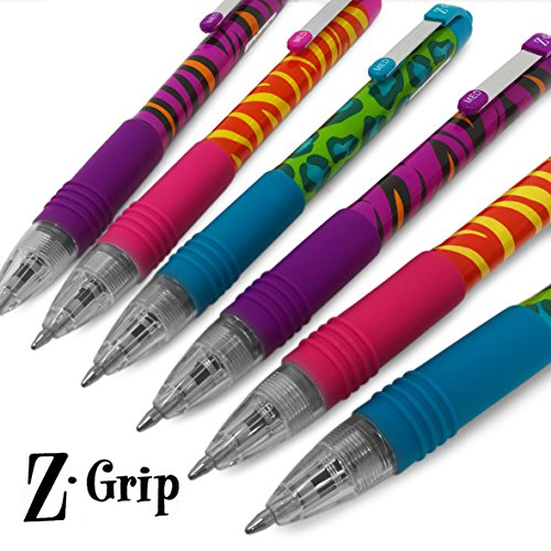 Print Patterns Animal (Zebra Z-Grip Funky - Animal Brights Pattern Retractable Coloured Ballpoint Pen - Assorted 6 Pack)