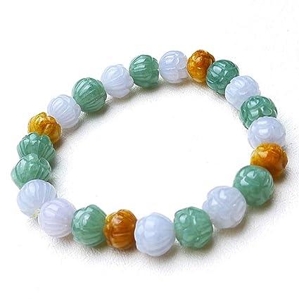 Pulsera de cuentas redondas de jade natural con flor de jade, nota: para cuentas
