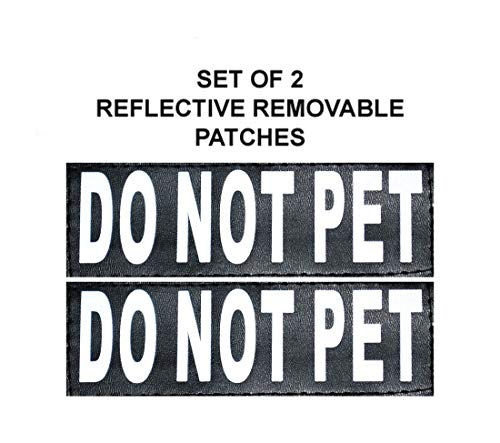 Doggie Stylz Set of 2 Reflective DO NOT PET Removable Patches for Service dog harnesses & vests.