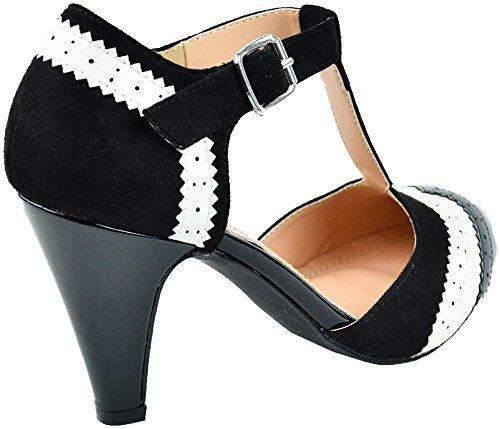 b0f98cb144 Cambridge Select Women's T-Strap Wingtip Style Cut Out Mid Heel Dress Pump ,8.5
