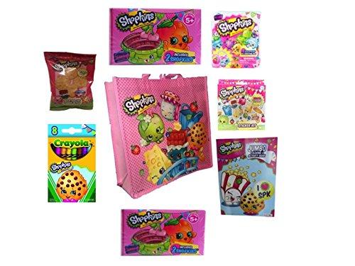 Pink Shopkins Shopping Bag -N- Jumbo Coloring Book Bundle Surprise – 10