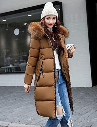 Modern Lunga Giacca Cappuccio Giacche Puro Laterali Stile Manica Tasche Moda Piumino Colore Cappotti Donna Abbigliamento Con Di Cerniera Invernali Braun Transizione 4XPwqa