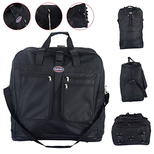 Eight24hours Rolling Wheeled Duffel Bag Spinner Suitcase Spinning Luggage Black (Executive Cabin Trolley Bag)