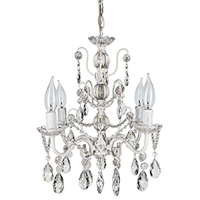 "Madeleine Collection' All Crystal Swag Chandelier Lighting with 4 Lights, Mini Style W13.5"" X H14"""