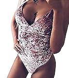 JINTING Women's Sexy Sleeveless Velvet Bodysuit Leotard Tops Bodycon Jumpsuit Romper Size XL (Pink)