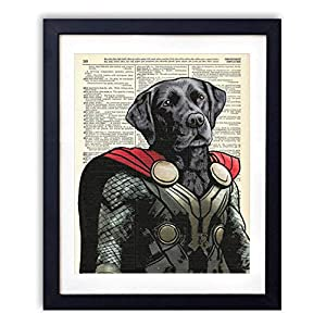 Thunder Dog Super Hero Vintage Wall Art Upcycled Dictionary Art Print Poster Kids Room Decor 8×10 inches, Unframed