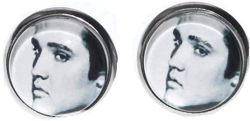 Hypnotic Elvis B/&W Round Stud Earrings are The for Dedicated Elvis Fans