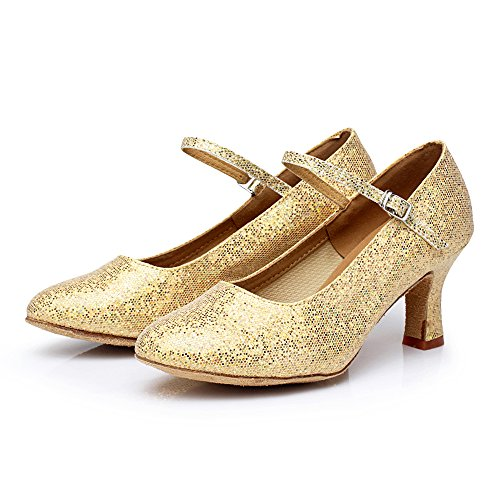 Para Oro Zapatos Baile Vashcamer Tacón De Mujer YxgwIxqAd