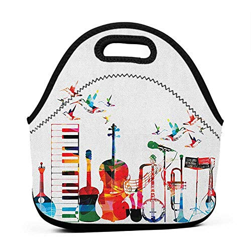 Removable Shoulder Strap Music,Colorful Musical Instruments Keyboard Guitar Banjo Trumpet Cello and Flying Birds, Multicolor,butterfly lunch bag for - Butterfly Cello