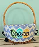 Personalized Easter Basket Liner - Light Blue Chevron - Personalized with Name