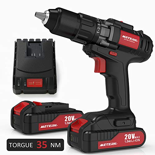 Drill Driver, Meterk 20V Cordless Electric Drill Driver with 2Pcs Li-Ion Batteries,2 Speed Drill Driver with 21+1 Position Clutch, 1/2″ Max Chuck with Torque 35N.m,1H Fast Charger