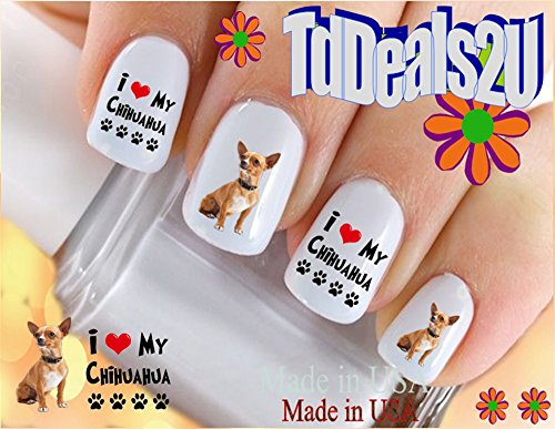 Nail Art Decals WaterSlide Nail Transfers Stickers Dog Breed - ChiHuaHua Brown I Love Nail Decals - Salon Quality! DIY Nail Accessories ()