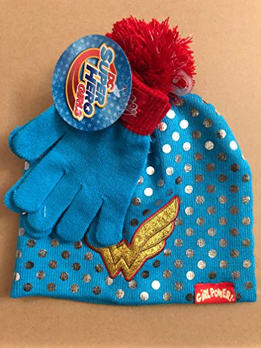 Wonder Woman DC Super Hero Girls Hat and Gloves Cold Weather Set - Ages 4-10