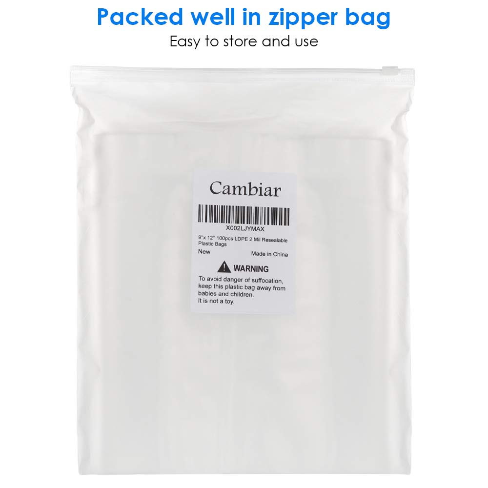 2 Mil Reclosable Zip Lock Seal Bags for Halloween Face Mask Storage Jewelry Clothes 9x 12 100pcs Clear Plastic Reusable Resealable Poly Bags Packaging Shipping Candy