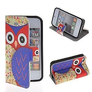 iPhone 4 4S Case, GETLAST [002] Beautiful Owl Cartoon Pattern Skin Wallet Flip Cover Folio Case for Apple iPhone 4 4S