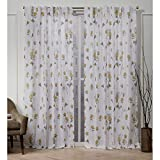 Nicole Miller La Petite Fleur Hidden Tab Top Curtain Panel, Honey Gold, 50x108, 2 Piece