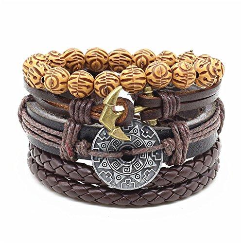 Price comparison product image Dapengzhu 4pcs / set Handmade Fashion Trendy Vintage Female Male Wood Bead Charm Men Leather Bracelet For Women Jewelry style 4