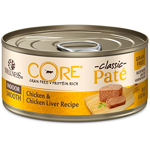 Wellness CORE Natural Grain Free Wet Canned Cat Food, Indoor Recipe, 5.5-Ounce Can (Pack of 24)