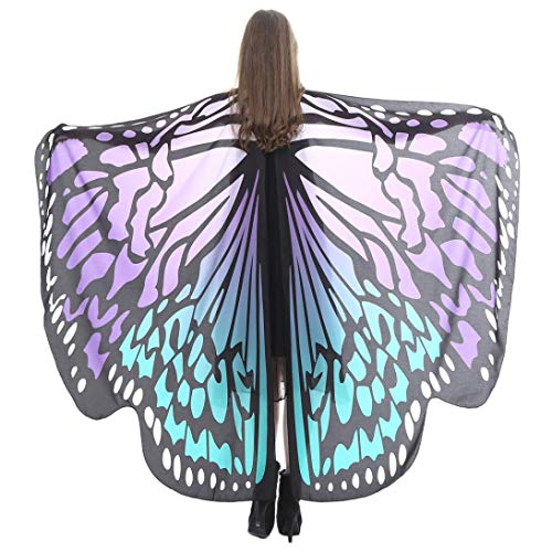 iDWZA Women Butterfly Wings Shawl Scarves Pixie Party Cosplay Costume Accessory(168135cm,Purple G)
