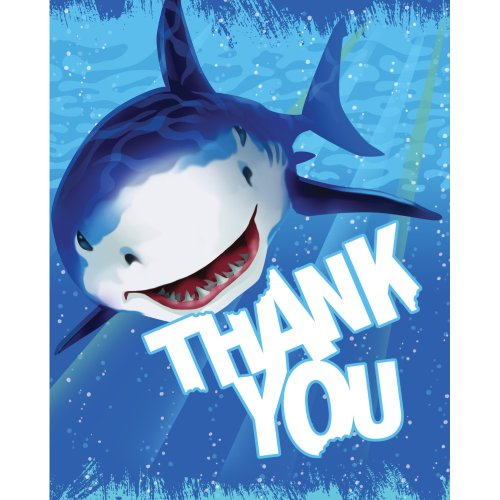 Creative Converting Shark Splash 8 Count Thank You Cards ()