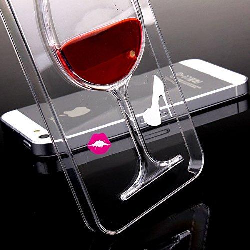 Voguecase® Pour Apple iPhone 5 5G 5S, Flowing rouge Liquide couche dure Couvercle Case étui Housse Etui(verre de vin rouge) de Gratuit stylet l'écran aléatoire universelle