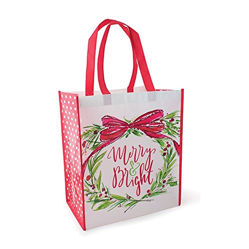 (Burton Burton Merry Bright Tote Wreath Decor, Multicolor)