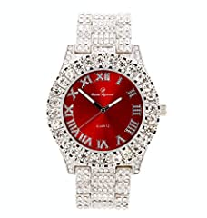 Mens Silver Big Rocks Bezel Blood-Red Dial with Roman Numerals Fully Iced Out Watch - Bloody Red/Silver- ST10327