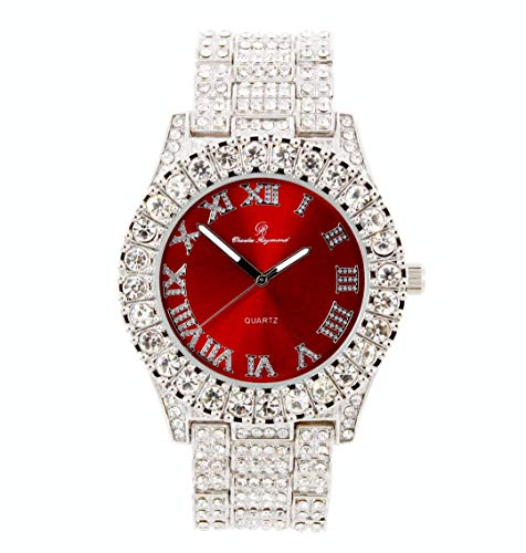 Mens Silver Big Rocks Bezel Blood-Red Dial with Roman Numerals Fully Iced Out Watch - Blood Red/Silver- ST10327 from Charles Raymond