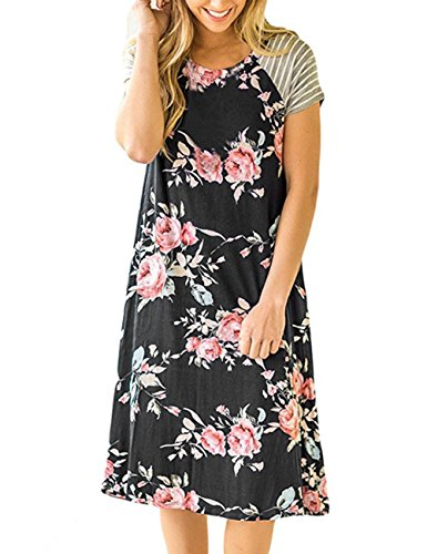 Yidarton Womens Summer Dresses Floral Print Casual Loose Short Sleeve Shirt Dress Splice Tunic Skirts (Large, (Print Short Sleeve Skirt)