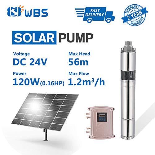WBS Pump Deep Well Solar Water Screw Pump Submersible, 0.15hp, 24V, 5.3GPM, 184' Head, 3