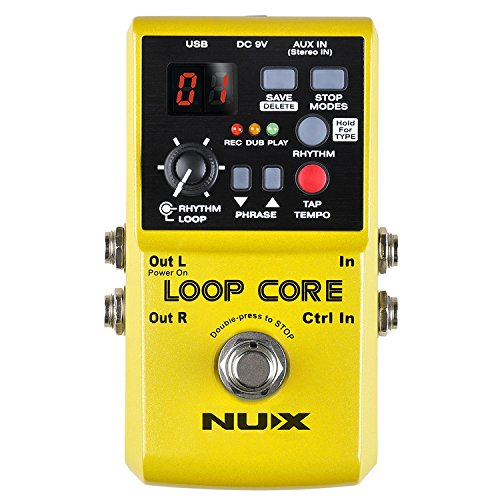 Nux Loop Core Guitar Effect Pedal Looper 6 Hours Recording Time, 99 User Memories, Drum Patterns with Tap Tempo Loop Pedal