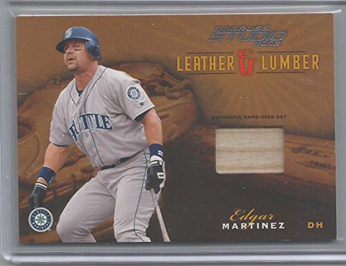 2003 Donruss Studio Baseball Edgar Martinez Leather & Lumber Bat Card # 257/400