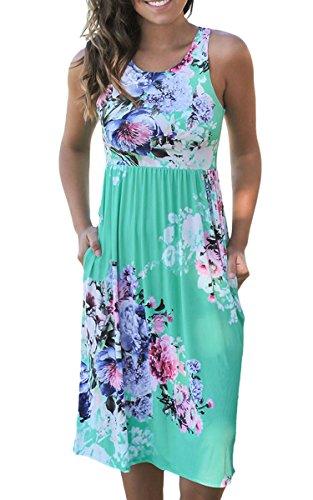 ECOWISH Womens Summer Floral Print Racerback Sleeveless Midi Casual Dress