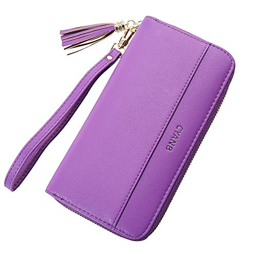 Cyanb Women Wallets Tassel Bifold Ladies Cluth Wristlet Wrist strap Long Purse Deep Purple ()