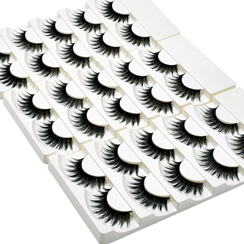 Wleec Beauty Full False Eyelash Pack Thick Eyelashes Set Handmade Strip Lashes #69 (15 Pairs/3 -