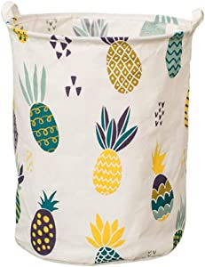 Fivebop Collapsible Laundry Basket Hamper with Handle Waterproof Linen Collapsible Dirty Clothes Toy Storage Basket (Pineapple)